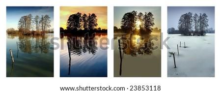 Collection four season - Spring, Summer, Autumn, Winter - stock photo