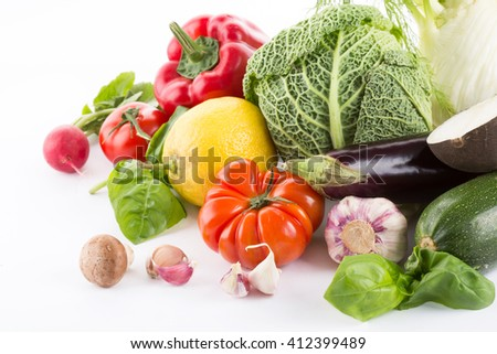 collection fresh vegetables isolated on white background - stock photo