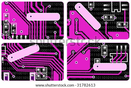 collection from four pink business cards stylized under computer electronic payments