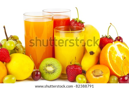 Collection from many fruits and juices in glasses on white