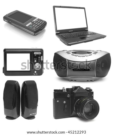 Collection from six objects electronics on white background - stock photo