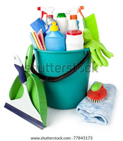 Collection from tools for cleaning in a bucket - stock photo