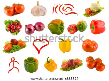 collection from vegetables isolated on white background - stock photo