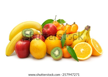 collection fruit isolated on a white background - stock photo