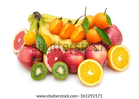 collection fruit isolated on white background - stock photo