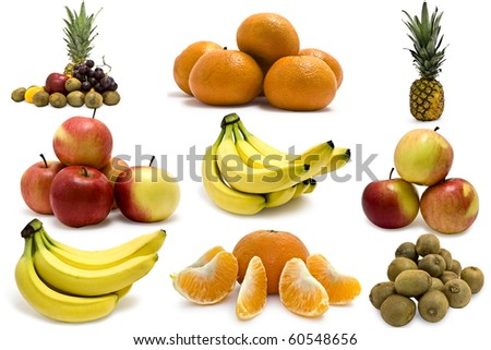 Collection fruit on white background - stock photo