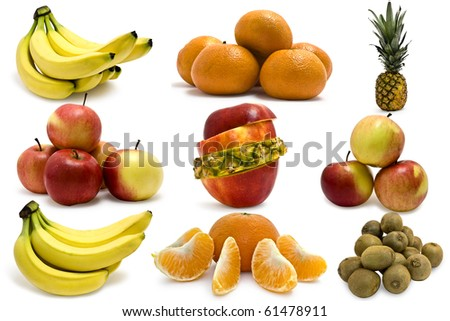 Collection fruit on white background