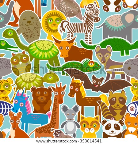 collection Funny cartoon Animals seamless pattern on blue background.  - stock photo