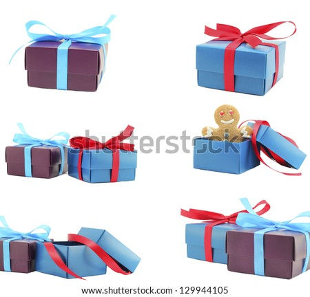 collection Gift boxes with bow - stock photo