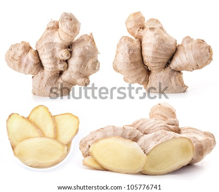Collection Ginger root isolated on a white background - stock photo