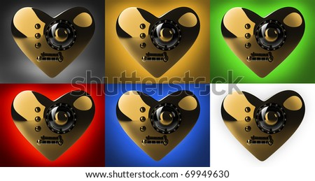 Collection gold heart safe isolated 3D render