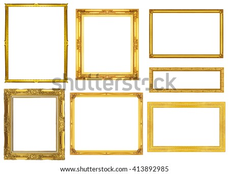 collection golden frame isolated on white background, clipping path. - stock photo