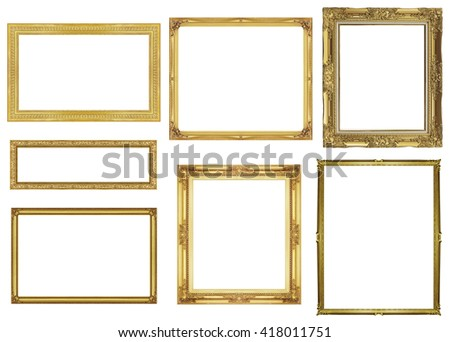 collection golden frame isolated on white background, clipping path.