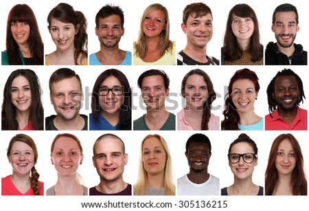 Collection group portrait of multiracial young smiling people isolated on a white background - stock photo