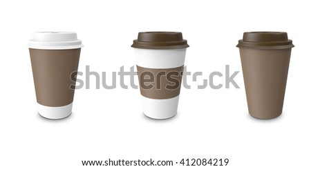Collection, group, set, take-out coffee with cup holder. Isolated on a white background. 3D illustration