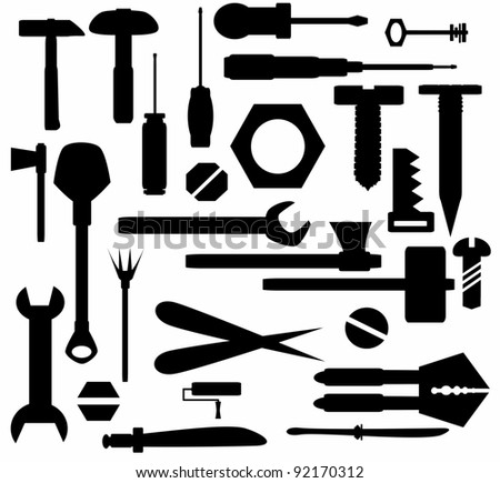 Collection Hand tools and DIY tools, isolated on white background, texture - stock photo