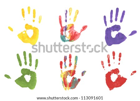 collection handprint  colored inks. - stock photo