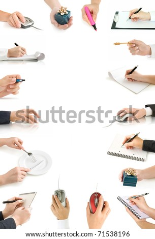 collection hands with computer mouse,gift,  with pen and writing on the page and notebook isolated on white - stock photo