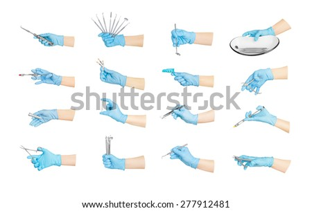 Collection hands with dental tools isolated on white - stock photo