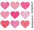 Collection heart isolated on white background.  illustration - stock vector