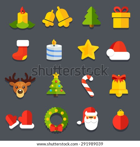 Collection icons for flat Christmas decoration festive sites - stock photo