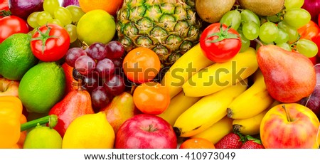 Collection juicy fruits and vegetables - stock photo