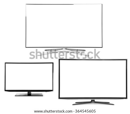 collection 4k monitor isolated on white