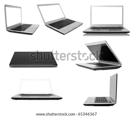 Collection laptops on white background - stock photo