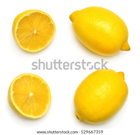 Collection lemons isolated on white background. Tropical fruit. Flat lay, top view