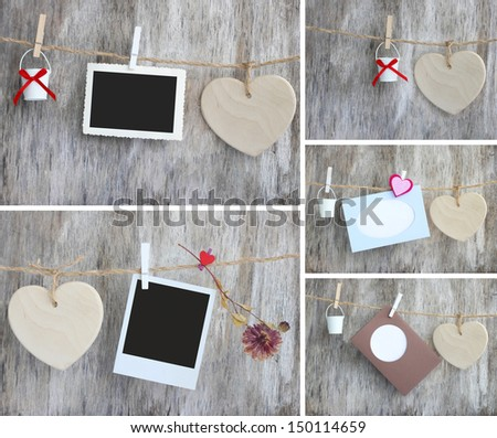 collection Love card heart romantic vintage wooden background - stock photo