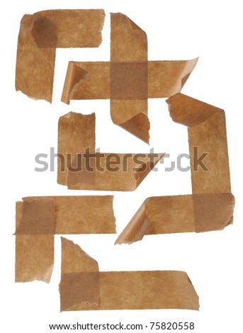 collection masking tape streaks. Isolated on white background. - stock photo