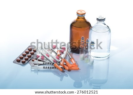Collection medication , Pills and medicine Vials with syringe.
