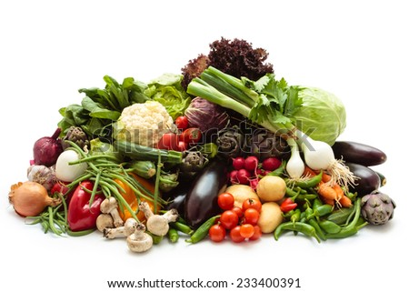 Collection mixed fresh organic vegetables and herbs. Isolated on white background. - stock photo
