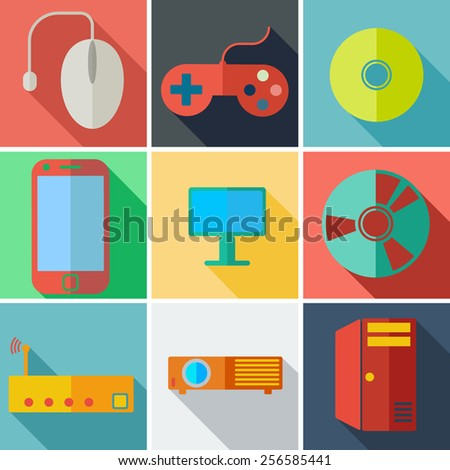 Collection modern flat icons computer mobile technology with long shadow effect for design.  illustration. - stock photo
