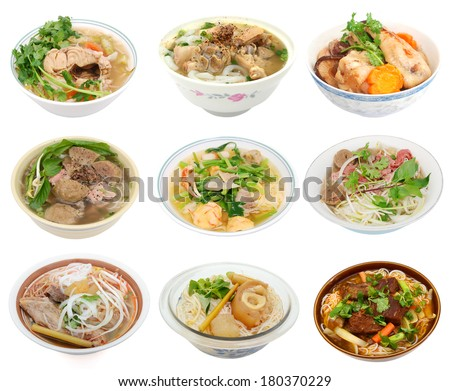 Collection noodle soups isolated white background