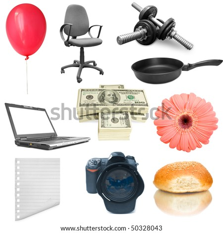 collection objects on the white backgrounda - stock photo