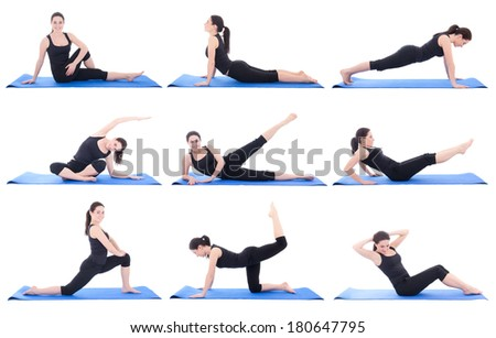 collection of a beautiful girl doing fitness isolated on white background - stock photo