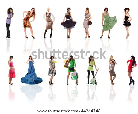Collection of a beautiful woman photos on white background