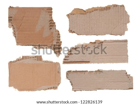 collection of a cardboard pieces on white background