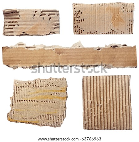 collection of  a cardboard pieces  on white background. each one is shot separately - stock photo