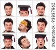 Collection of a funny guy, isolated on white - stock photo