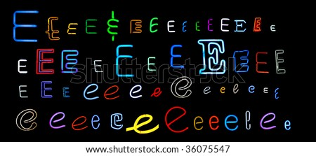 collection of a number of different neon letter E isolated on black - part of a series of neon letters - stock photo