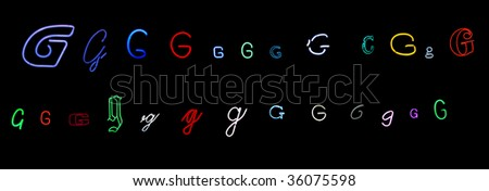 collection of a number of different neon letter G isolated on black - part of a series of neon letters