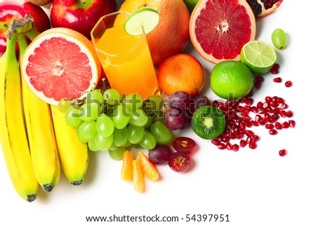 Collection of a ripe tropical fruits isolated over white background - stock photo