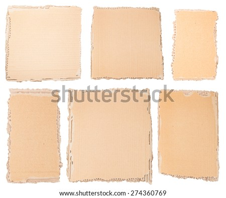 Collection of a textured cardboard pieces isolated on white background