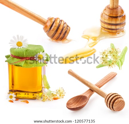 Collection of a wooden honey dipper and Honey in glass jar with flowers isolated on white background - stock photo