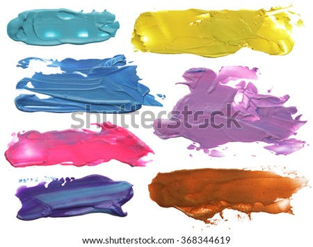 collection of abstract acrylic brush strokes blots - stock photo