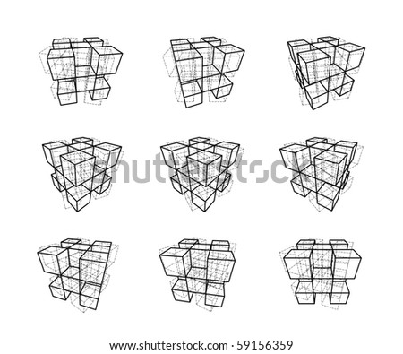 collection of abstract geometric design elements  (also available as vector) - stock photo