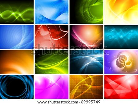 Collection of abstract multicolored backgrounds - stock photo