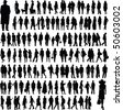 collection of abstract people silhouettes, isolated on  white background - stock photo
